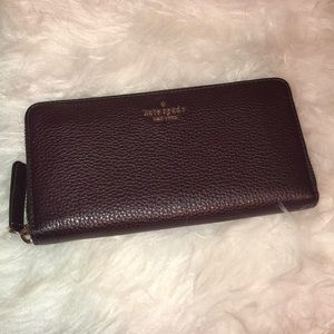 Kate Spade Oxblood/Deep Burgundy Zip Around Wallet